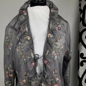 J Jill large Grey Gray Floral Embroidered Cardigan